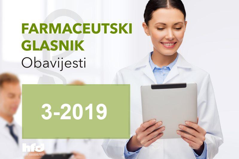 Farmaceutski glasnik – OBAVIJESTI 3/2019