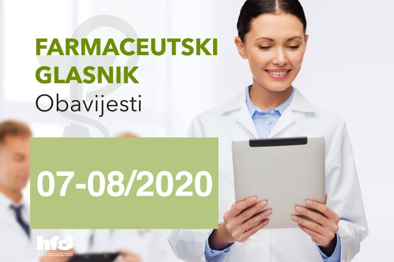 Farmaceutski glasnik – OBAVIJESTI 07-08/2020
