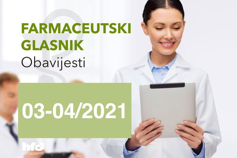Farmaceutski glasnik – OBAVIJESTI 03-04/2021