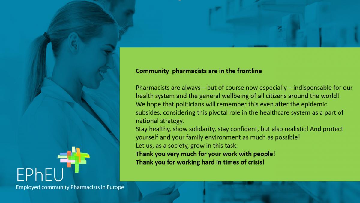 EPhEU: Kampanja za podršku ljekarnicima u pandemiji